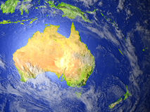 Australia and New Zealand on realistic model of Earth. Australia and New Zealand on model of Earth. 3D illustration with realistic planet surface. Elements of Royalty Free Stock Images