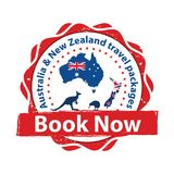 Australia and New Zealand travel packages - printable sticker. Australia and New Zealand vacation packages book now - tourism advertising sticker / banner. The Royalty Free Stock Photo