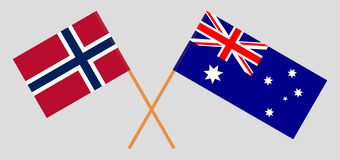 Australia and Norway. The Australian and Norwegian flags. Official colors. Correct proportion. Vector. Illustrationn royalty free illustration