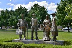 Australia, NSW, Gundagai. Gundagai, NSW, Australia - November 01, 2017: Sculpture named Dad and Dave, Mum and Mabel in the tiny village in New South Wales royalty free stock photos