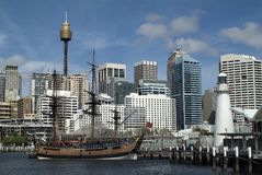 Australia, NSW, Sydney. Australia, Sydney, replica of HMS Endeavour in Darling Harbour Stock Photos