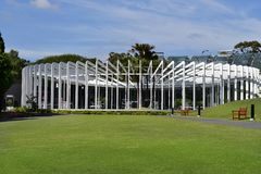 Australia, NSW, Sydney. Australia,NSW, Sydney - October 28, 2017: The Calyx building, cafe and glass house in Royal Botanic Garden Royalty Free Stock Photography