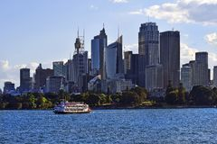 Australia, NSW, Sydney, Paddle Steamer and Skyline royalty free stock image