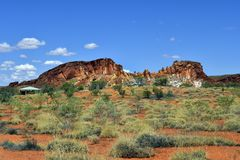 Australia, NT, Rainbow Valley. Australia, rock formation, shelter and information point in Rainbow valley national park in Northern Territory Stock Image