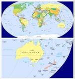 Nueva Zelanda Mapa Mundi.Australia Nueva Zelanda Y Mundo Stock De Ilustracion