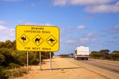 Australia Nullarbor Plain Famous Sign and Caravan. The famous sign on the Nullarbor Plain in Western Australia - look out for emus, camels and kangaroos. A stock photos