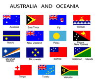 Australia and Oceania countries. List of all flags of Australia and Oceania countries Stock Photo
