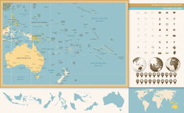 Australia and Oceania detailed old color map and navigation icon. Set. All elements are separated in editable layers clearly labeled Royalty Free Stock Photos