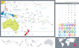 Australia and Oceania detailed political map and navigation set Royalty Free Stock Photo