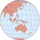 Australia and oceania earth globe map. Globe Map centered on Australia and oceania. Ortographic projection with graticule. Elements of this image furnished by Royalty Free Stock Photography
