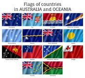 Australia and Oceania flags. Realistic style set. Collection of national symbols. Vector illustrations of tribes, aborigines, peoples, pacific ocean concept Royalty Free Stock Images