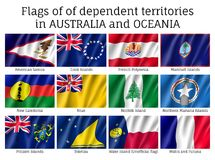 Australia and Oceania flags. Flags dependent territories Australia and Oceania realistic style set. Collection of national symbols. Vector illustrations of Royalty Free Stock Photography