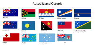 Australia and Oceania flags vector. Flags of Oceania, all countries in original colors Stock Images