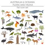 Australia and Oceania flora and fauna map, flat elements. Animal. Australia and Oceania flora and fauna, flat elements. Animals, birds and sea life big set Royalty Free Stock Photography