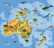 Australia and Oceania flora and fauna map, flat elements. Animal. S, birds and sea life big set. Build your geography infographics collection. Vector Royalty Free Stock Photo