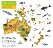 Australia and Oceania flora and fauna map, flat elements. Animal. S, birds and sea life big set. Build your geography infographics collection. Vector Royalty Free Stock Photography