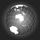 Australia or Oceania map in black and white Royalty Free Stock Photo