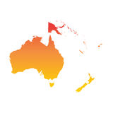 Australia and oceania map. Colorful orange vector illustration.  Royalty Free Stock Images