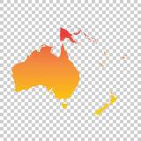 Australia and oceania map. Colorful orange vector illustration.  Stock Photography