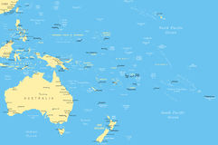 Australia and Oceania - map - illustration. Royalty Free Stock Photography