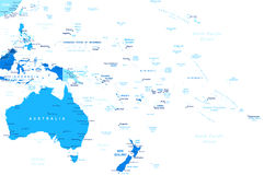 Australia and Oceania - map - illustration. Australia and Oceania map - highly detailed vector illustration Stock Images