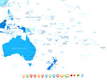 Australia and Oceania - map and navigation icons - illustration. Australia and Oceania map - highly detailed vector illustration. Image contains land contours Royalty Free Stock Photo