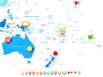 Australia and Oceania - map and navigation icons - illustration. Australia and Oceania map - highly detailed vector illustration. Image contains land contours Royalty Free Stock Image