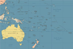 Australia and Oceania Map - Vintage Vector Illustration Stock Images