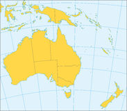 Australia and Oceania political map. Political map of Australia and Oceania with coordinates, present states borders, detailed vector map Stock Images