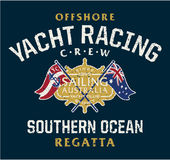 Australia offshore yacht racing. Vector artwork for sportswear in custom colors grunge effect in separate layer vector illustration