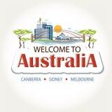 Australia ofrece la etiqueta engomada del texto Imagen de archivo