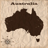 Australia old map with grunge and crumpled paper. Vector illustration Royalty Free Stock Photos