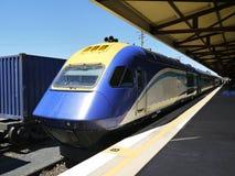 Australia: passenger train at station. Modern passenger train waiting to depart from Dubbo station, New South Wales, Australia stock images