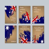 Australia Patriotic Cards for National Day. Expressive Brush Stroke in National Flag Colors on kraft paper background. Australia Patriotic Vector Greeting Card Stock Photography