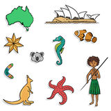 Australia pattern or set - seamless background. Royalty Free Stock Photography