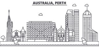 Australia, Perth architecture line skyline illustration. Linear vector cityscape with famous landmarks, city sights Royalty Free Stock Photography