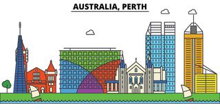 Australia, Perth. City skyline architecture . Editable Stock Images