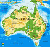 Australia-physical map Royalty Free Stock Image