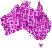 Australia in a pink mosaic Stock Photo