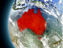 Australia on planet Earth from space Stock Photos