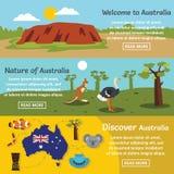 Australia podróży sztandaru horyzontalny set, mieszkanie styl royalty ilustracja