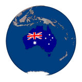 Australia on political globe Stock Photo