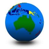 Australia on political globe illustration Stock Photography