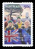 AUSTRALIA - Postage Stamp. AUSTRALIA - CIRCA 2008: A stamp printed in Australia shows Young with the flag and the slogan Lest We Forget - We Will Remember Them stock photography