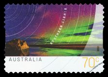 AUSTRALIA - Postage Stamp. AUSTRALIA - CIRCA 2014: A used postage stamp from Australia, depicting an image of the beautiful Southern Lights, circa 2014 royalty free stock photography