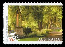 AUSTRALIA - Postage Stamp. AUSTRALIA - CIRCA 2009: A used postage stamp from Australia, depicting an image of St. Davids Park in Hobart, circa 2009 stock photography