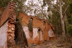 Australia: przemysłowa ruina nafcianego iłołupka kopalnia Fotografia Stock