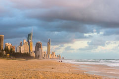 Australia, Queensland, Surfers Paradise beach and skyline at sun Royalty Free Stock Photo