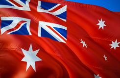 Australia Red ensign flag. 3D Waving flag design. The national symbol of Australia Red ensign, 3D rendering. Australia Red ensign. 3D Waving sign design. Waving stock photos