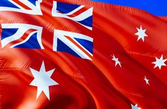 Australia Red ensign flag. 3D Waving flag design. The national symbol of Australia Red ensign, 3D rendering. National colors and. National flag of Australia Red royalty free stock photo